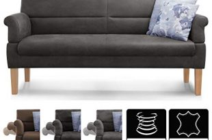 Cavadore 3-Sitzer Sofa Kira mit Federkern / Sitzbank für Küche, Esszimmer / Inkl. Armteilfunktion / 189 x 94 x 81 / Kunstleder dunkelgrau