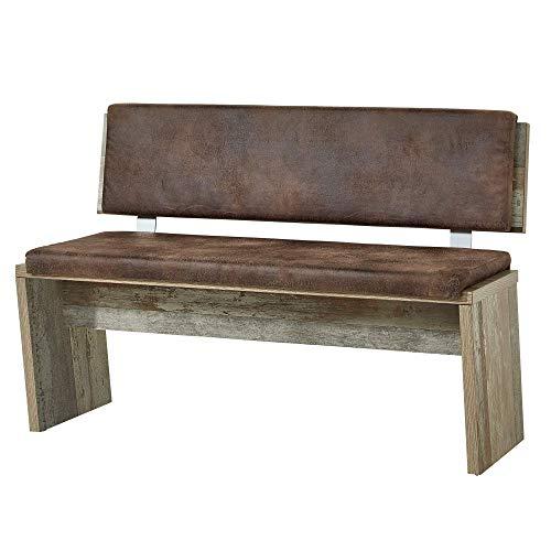Bonanza Vintage Sitzbank in Driftwood Optik - bequeme Retro Sitzbank mit Lehne für Ihr Wohn- & Esszimmer - 126 x 86 x 55 cm (B/H/T)