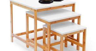 Relaxdays Beistelltisch BAMBOO 3 Satztisch Wohnzimmertisch Holz Bambus weiss lackierte Tischplatte 310x165 - Relaxdays Beistelltisch BAMBOO 3-Satztisch Wohnzimmertisch Holz-Bambus & weiss lackierte Tischplatte 3er Set verschiedene Größen Couchtisch 50, 40 & 30 cm Sofatisch im skandinavischen Stil, natur