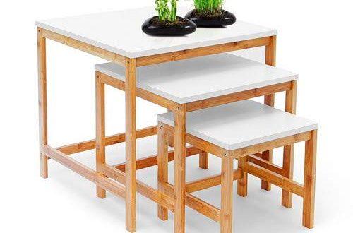 Relaxdays Beistelltisch BAMBOO 3 Satztisch Wohnzimmertisch Holz Bambus weiss lackierte Tischplatte 500x330 - Relaxdays Beistelltisch BAMBOO 3-Satztisch Wohnzimmertisch Holz-Bambus & weiss lackierte Tischplatte 3er Set verschiedene Größen Couchtisch 50, 40 & 30 cm Sofatisch im skandinavischen Stil, natur