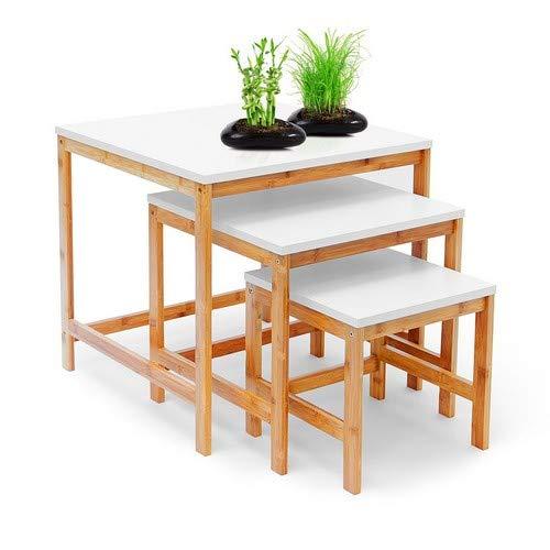 Relaxdays Beistelltisch BAMBOO 3-Satztisch Wohnzimmertisch Holz-Bambus & weiss lackierte Tischplatte 3er Set verschiedene Größen Couchtisch 50, 40 & 30 cm Sofatisch im skandinavischen Stil, natur